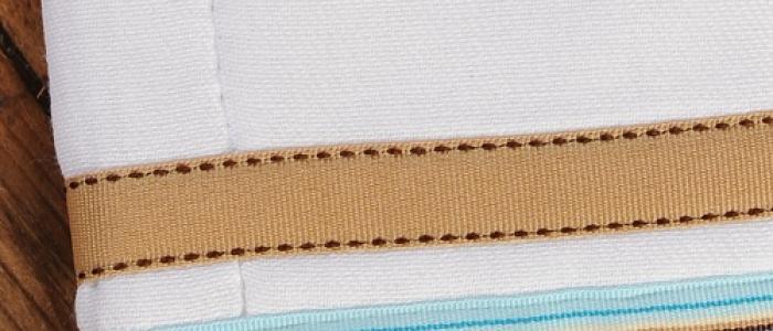 Light Aqua Chocolate Stripe / Oatmeal Chocolate Stitch