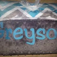 Turquoise Charcoal Chevron/ Charcoal Bump